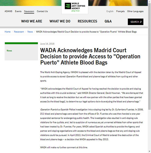 WADA Newsroom 14 june 2016
