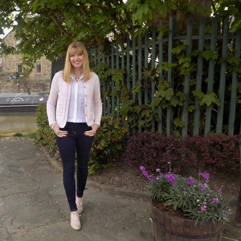 What Lizzy Loves in Winser London | Pale pink Chanel-style jacket, embroiderie blouse, skinny jeans, brogues