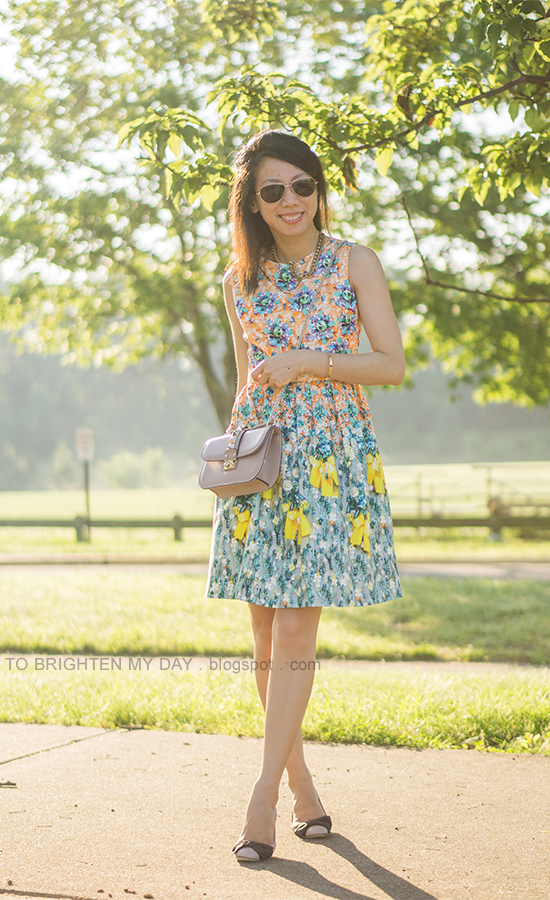 floral patterned dress, nude crossbody bag, bow ballerina flats