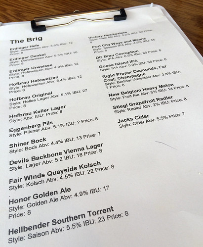 The Brig Beer Menu
