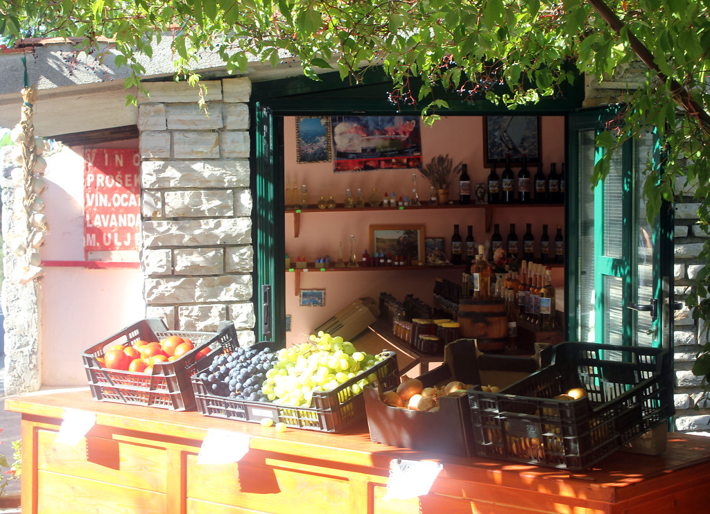 Hvar Croatia roadside produce and wine stands