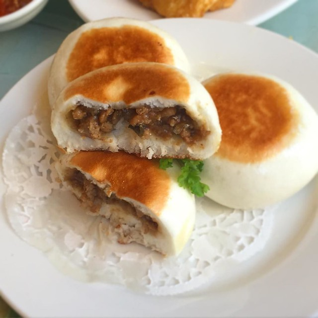 Pan Fried Bun stuffed with Pork Belly and Preserved Veggies! Loved the sweet bum and crispy top and bottom!