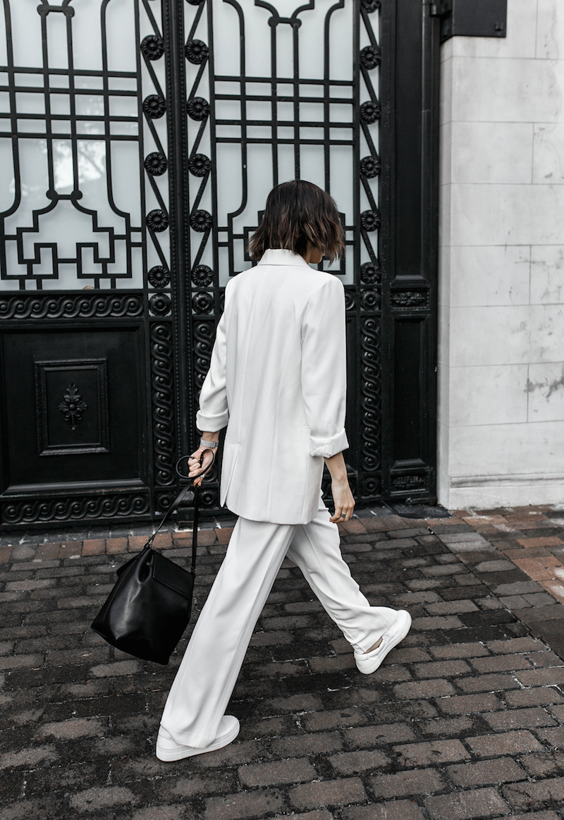 all white suit street style inspo fashion blogger celine Loxley bucket bag sneakers modern legacy minimal Instagram (1 of 18)