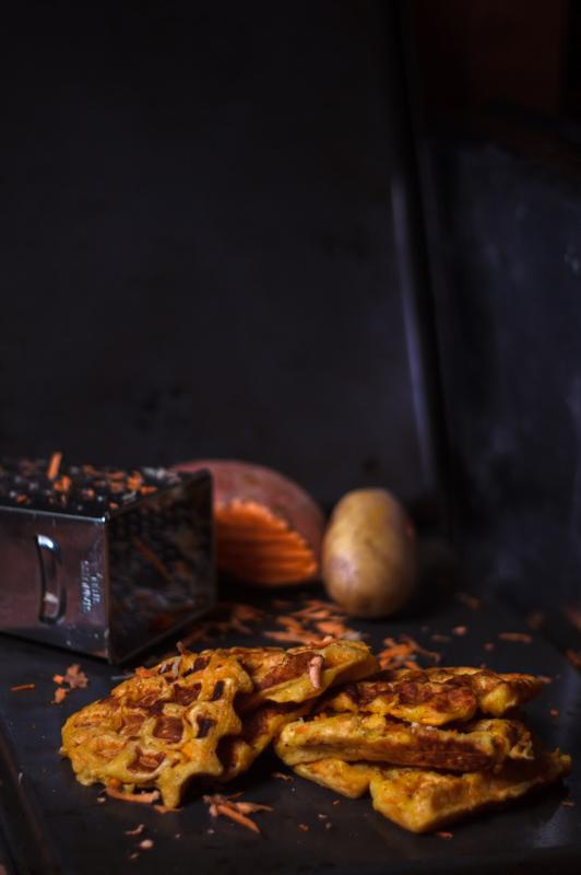 pikante waffeln rezept kartoffel süßkartoffel