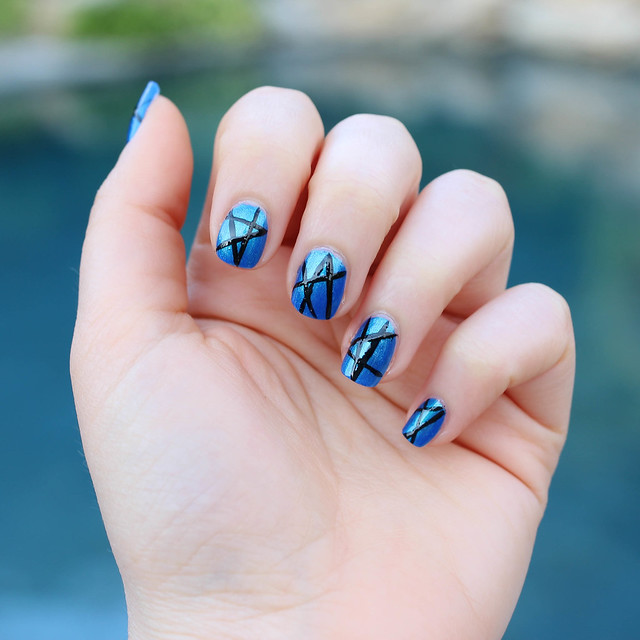 Julep Metallic Blue Manicure with Black Striped Nail Art   Living After MIdnite by Jackie Giardina Beauty Blogger
