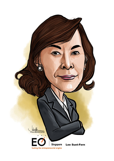 Lee Suet-Fern digital caricature for EO Singapore