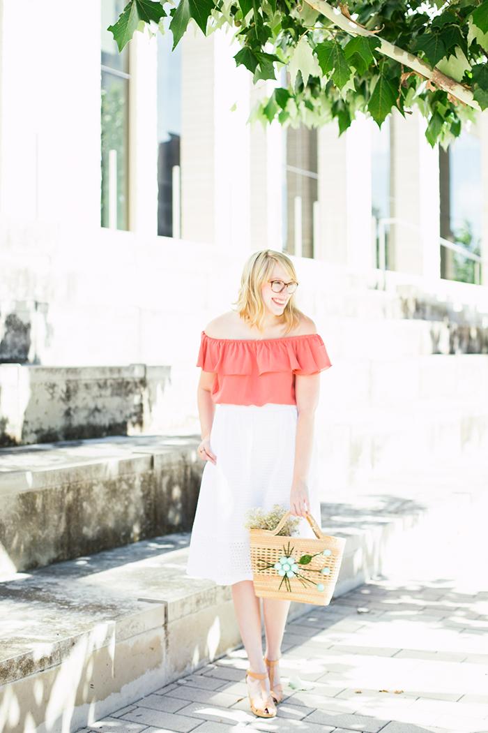 off the shoulder blouse eyelet skirt1