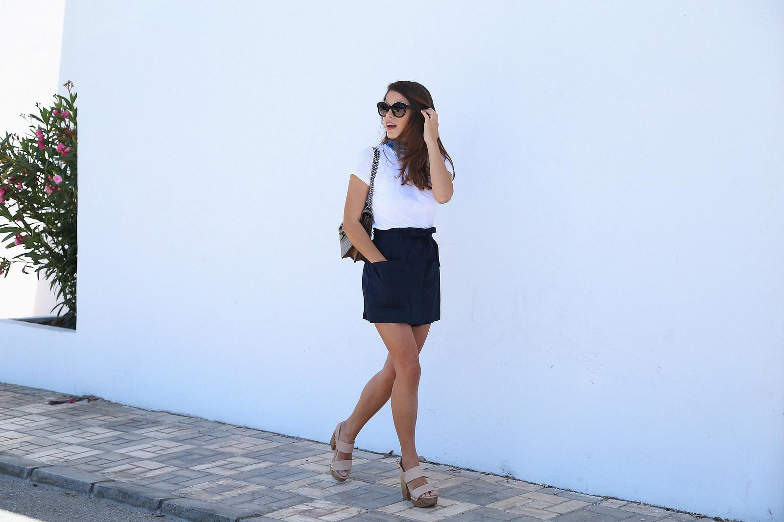 jessie chanes seams for a desire blue skort white tshirt wooden wedges sandals-3