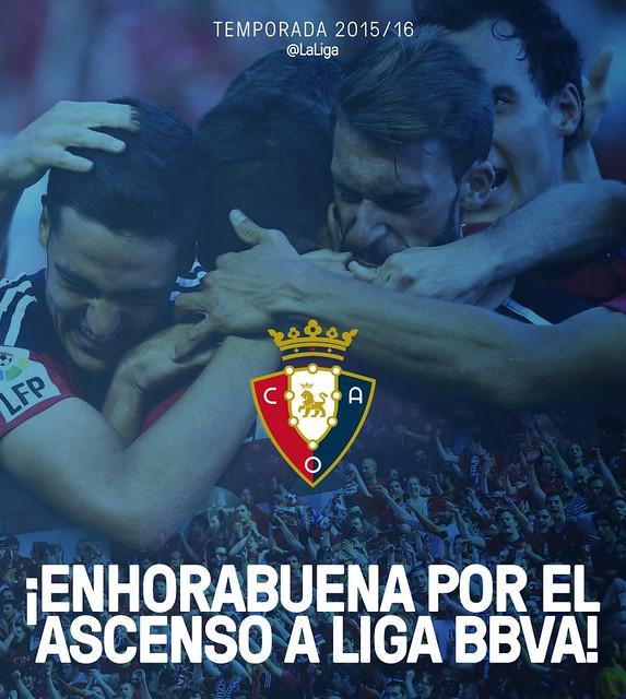 El Osasuna asciende a la Liga BBVA