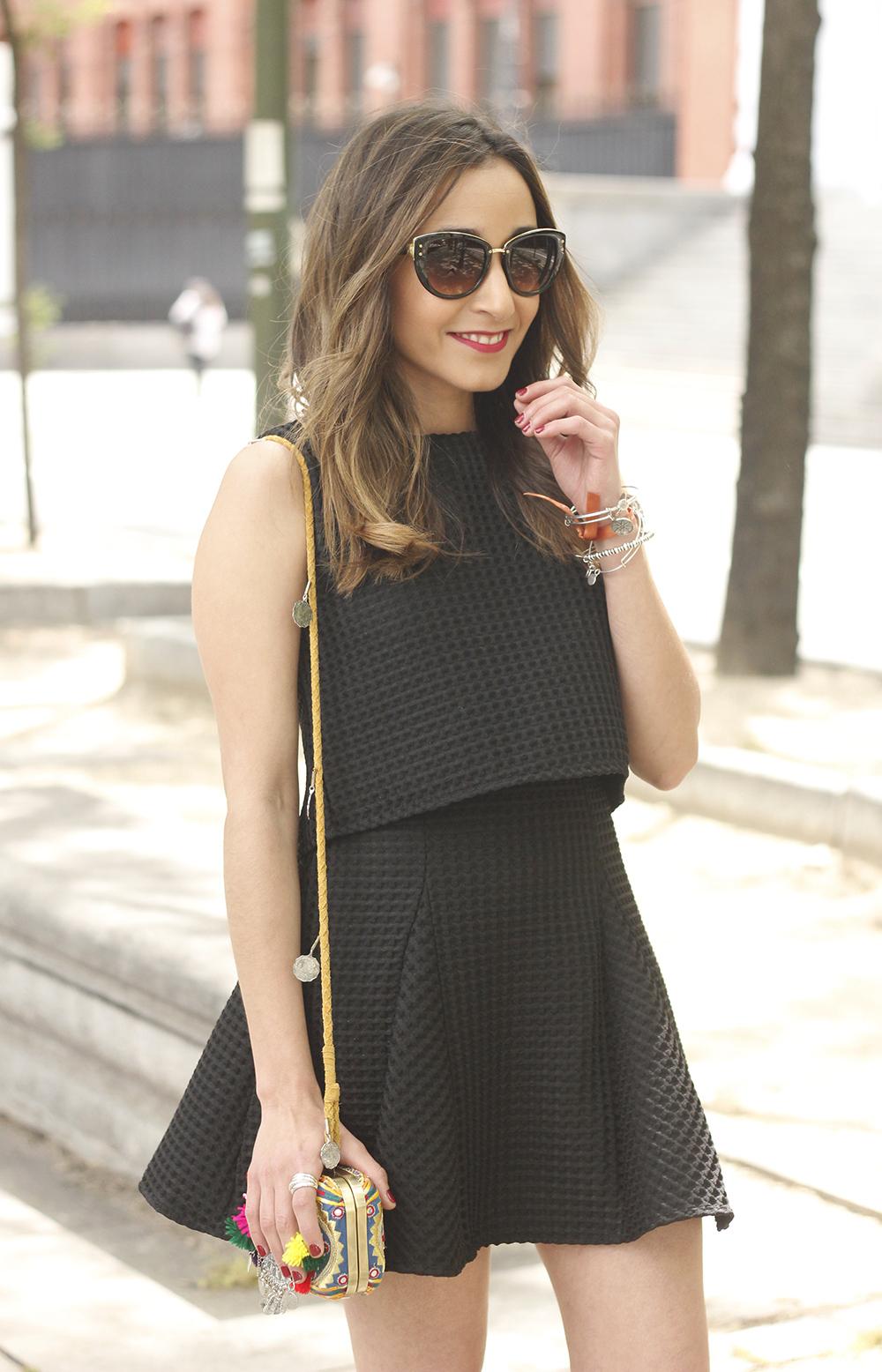 Little black dress maje carolina herrera sandals bag outfit fashion style summer sunnies18