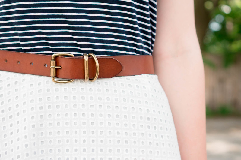 navy and white stripe tee + white eyelet skirt + floral scarf + wicker clutch; summer outfit | Style On Target