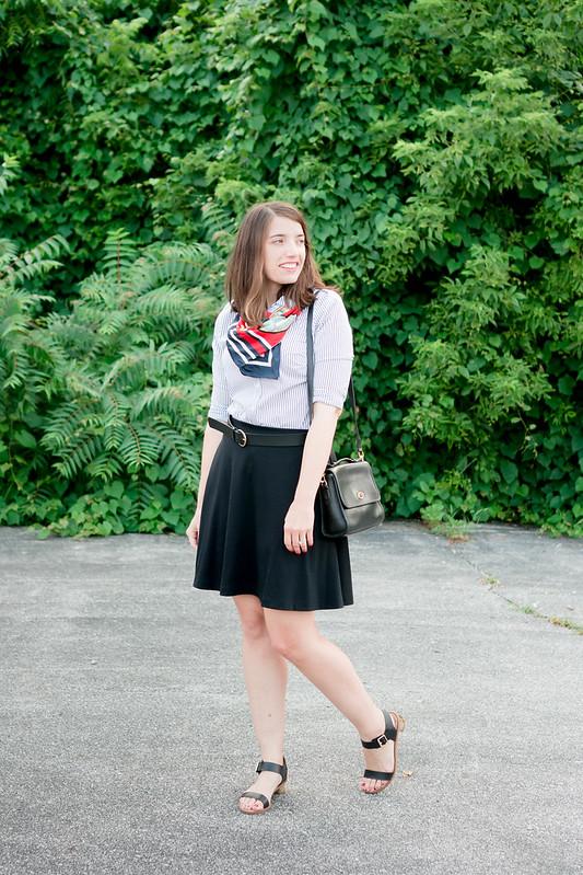 black Old Navy skirt + Ann Taylor stripe shirt + Target black belt and heeled sandals | Style On Target