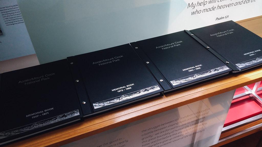 Memorial book in Aoraki Mt Cook National Park Visitor Centre