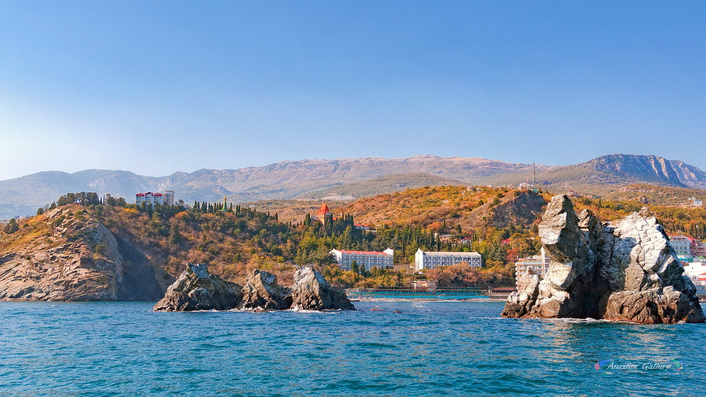 Crimean coast. Alushta. Utes. Triptych