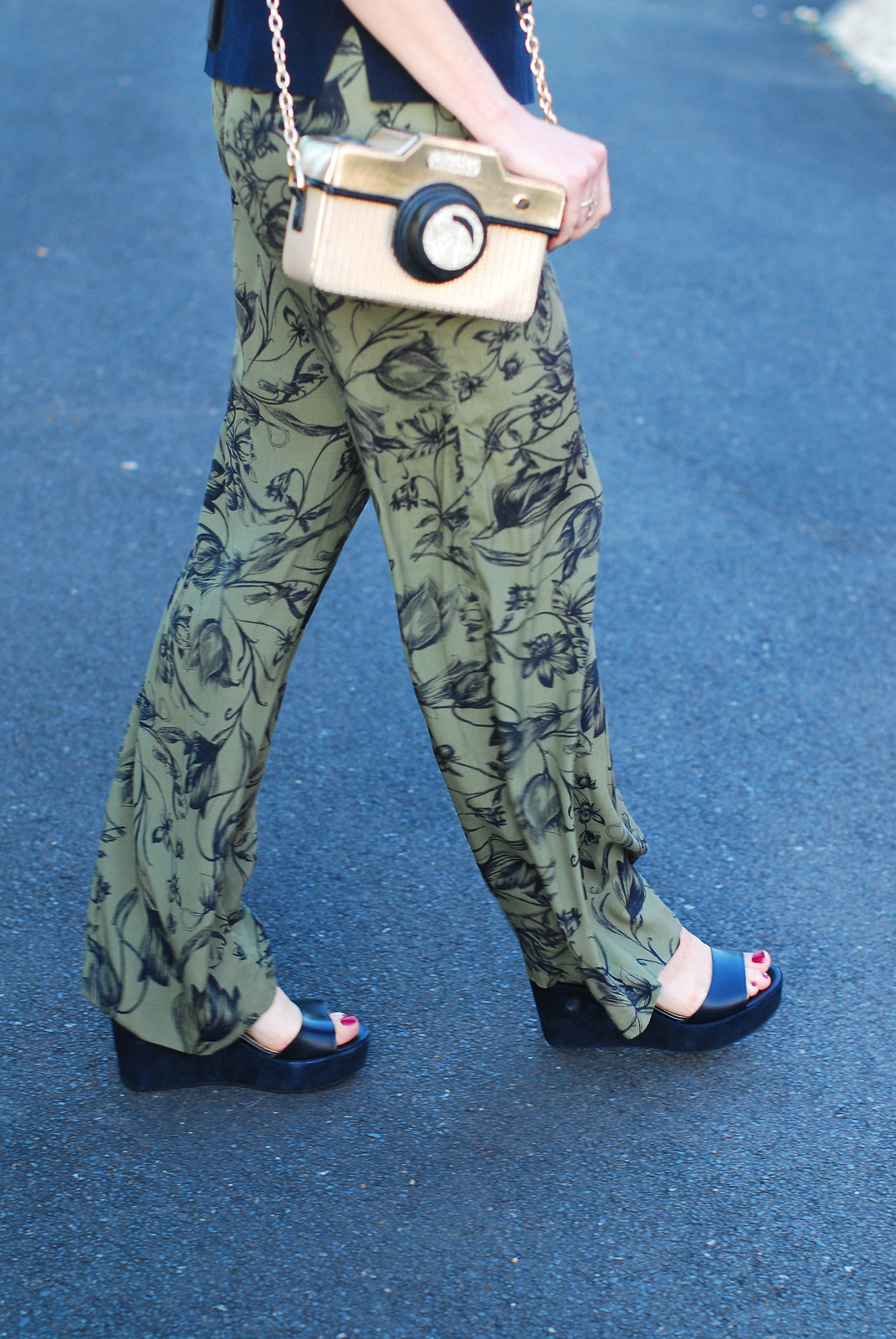 Pattern mixing: Navy/white striped sweater, khaki floral wide leg pants, strappy wedge sandals, novelty camera bag - Hobbs SS16 | Not Dressed As Lamb