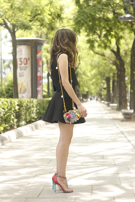 Little black dress maje carolina herrera sandals bag outfit fashion style summer sunnies06