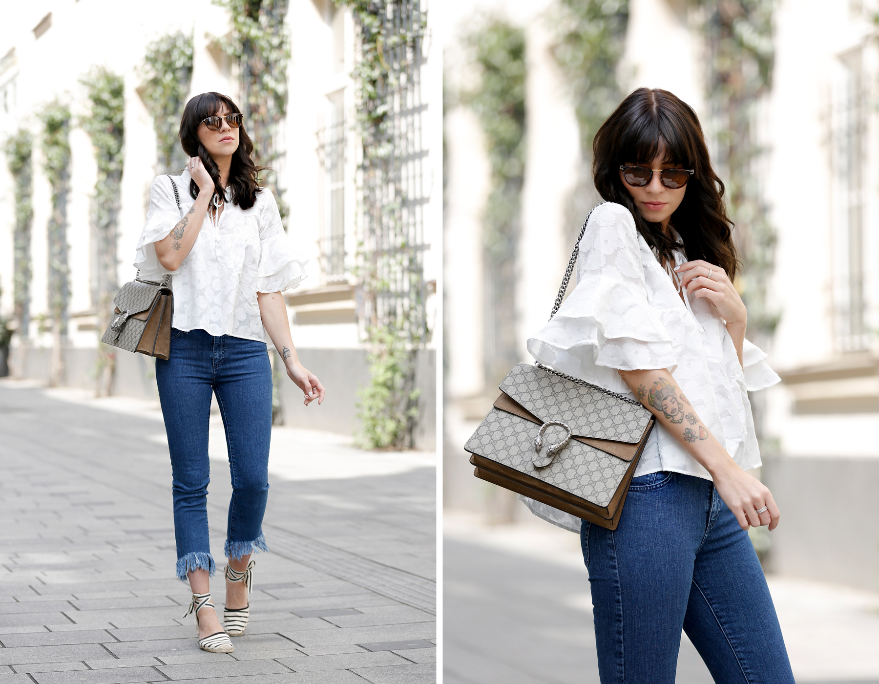 outfit spring summer minimal blue white clean bangs brunette girl cute french parisienne mango fringe jeans denim white blouse shopbop soludos espadrilles gucci dionysus bag luxury fashion modeblog germany ricarda schernus fashionblogger 7