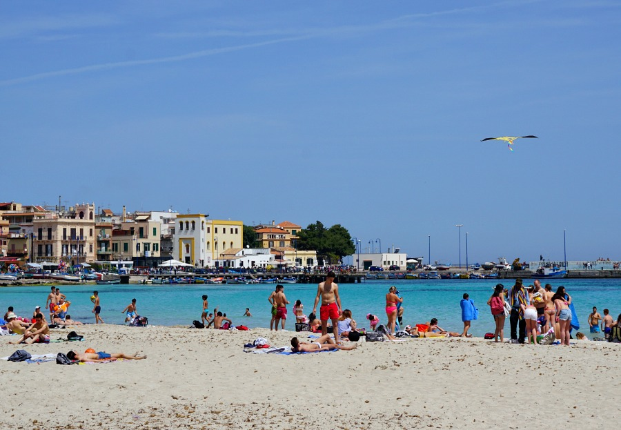 White Sandy Beach of Mondello, Sicily