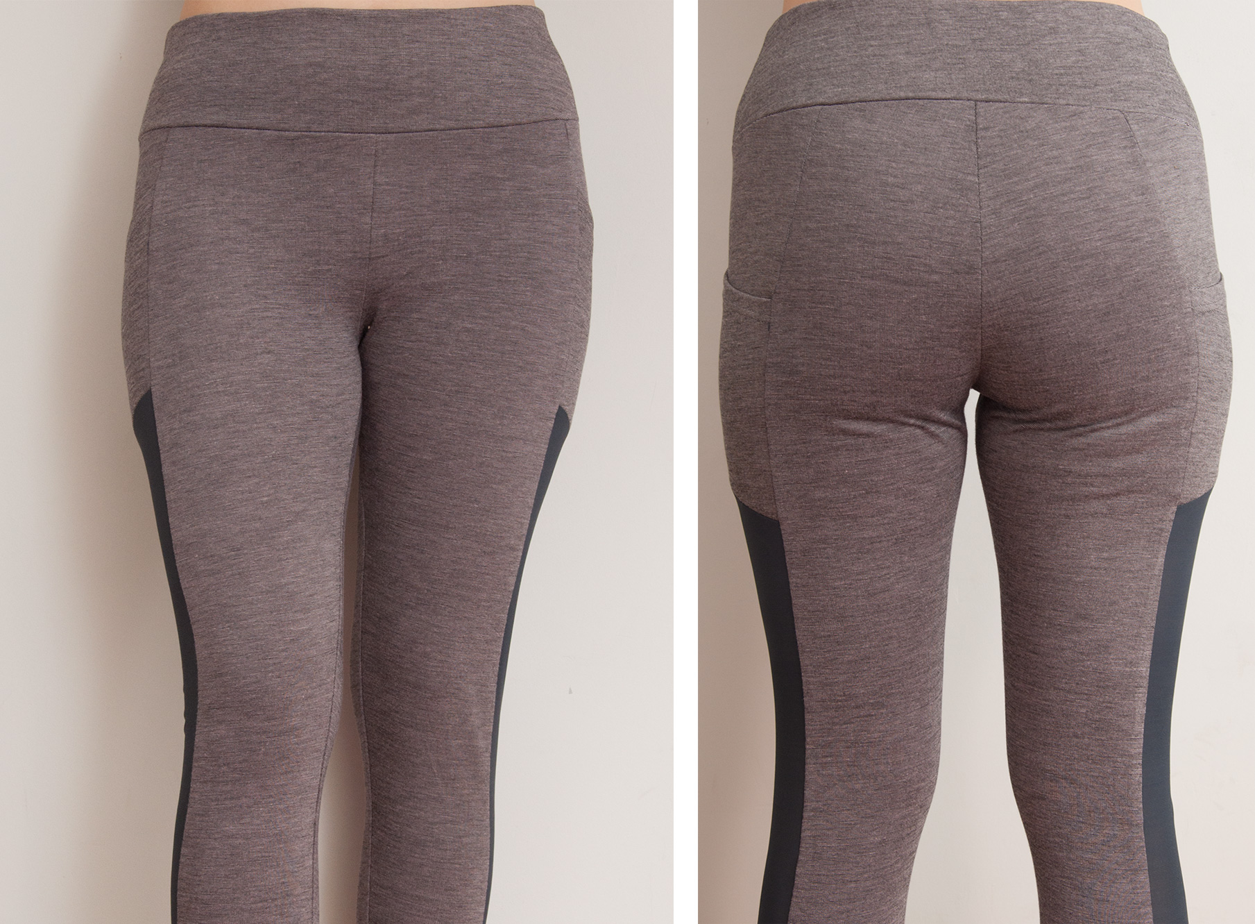 Yoga leggings with mesh insert and ties