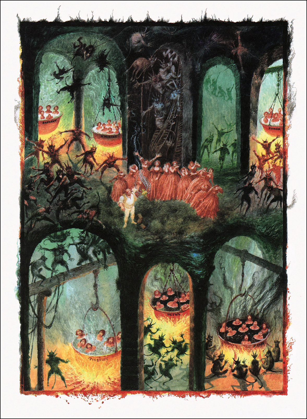 "Albin Brunovsky - Illustration - 13, from Pavol Dobšinský's ""Slovak Fairy Tales - The third book from the collection of Pavol"" 1988"