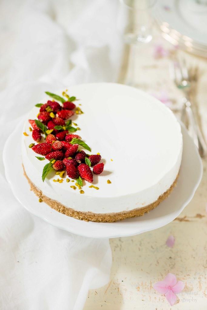 Cheesecake alle fragoline e pistacchi
