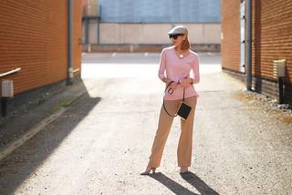 Winser London pale pink sweater, camel wide leg trousers, black cross body bag, flat cap, grey heels | Not Dressed As Lamb
