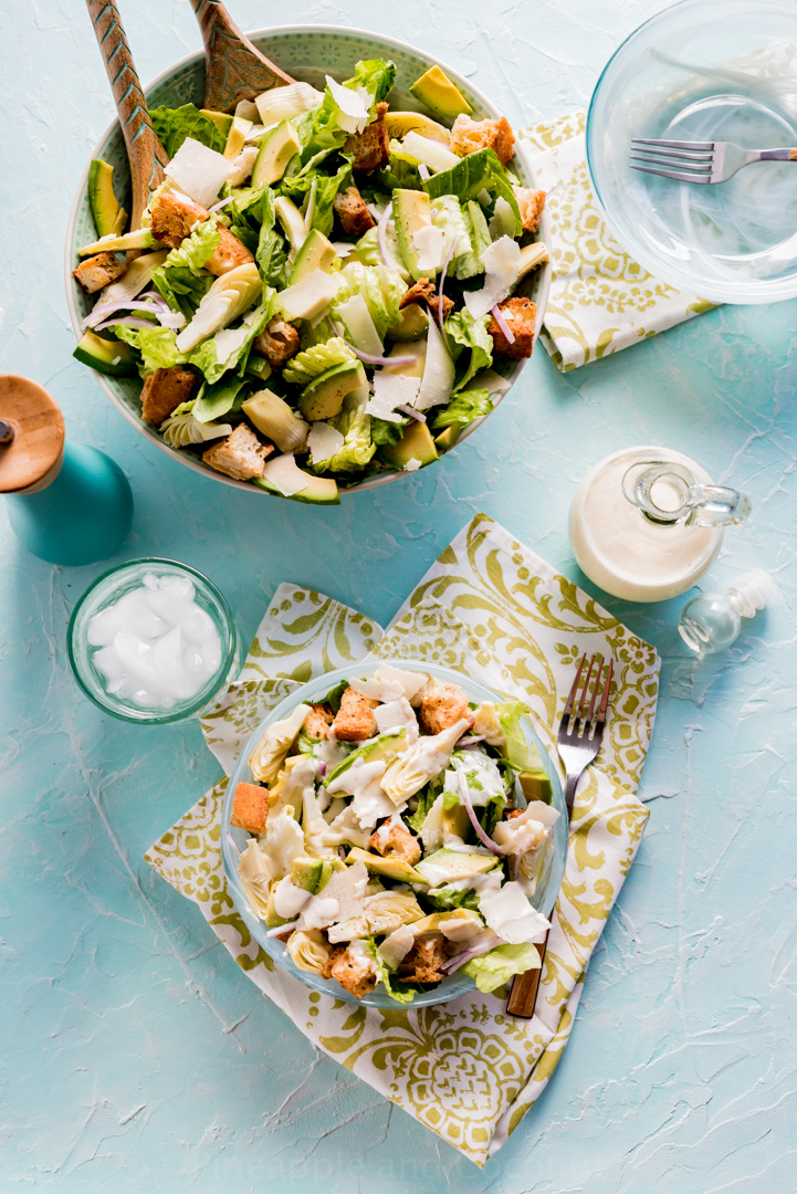 Avocado Caesar salad with Avocado Oil Caesar Dressing #www.pineappleandcoconut.com #ChosenFoodsar Salad-102