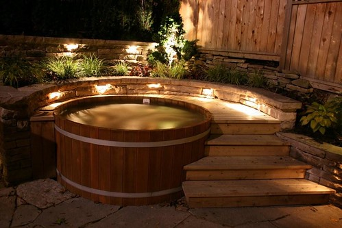 wood hot tub in evening light flickr photo sharing. Black Bedroom Furniture Sets. Home Design Ideas
