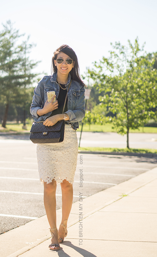 denim jacket, gold jewelry, black top, white lace pencil skirt, jeweled tie sandals