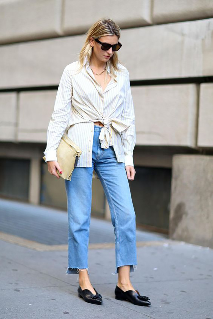 knotted shirt inspiration street style fashion outfit2