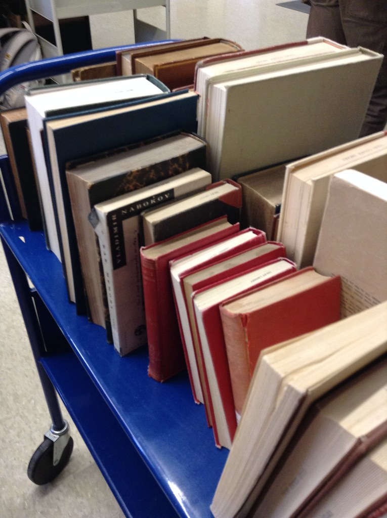 A cart of books ready for repair.