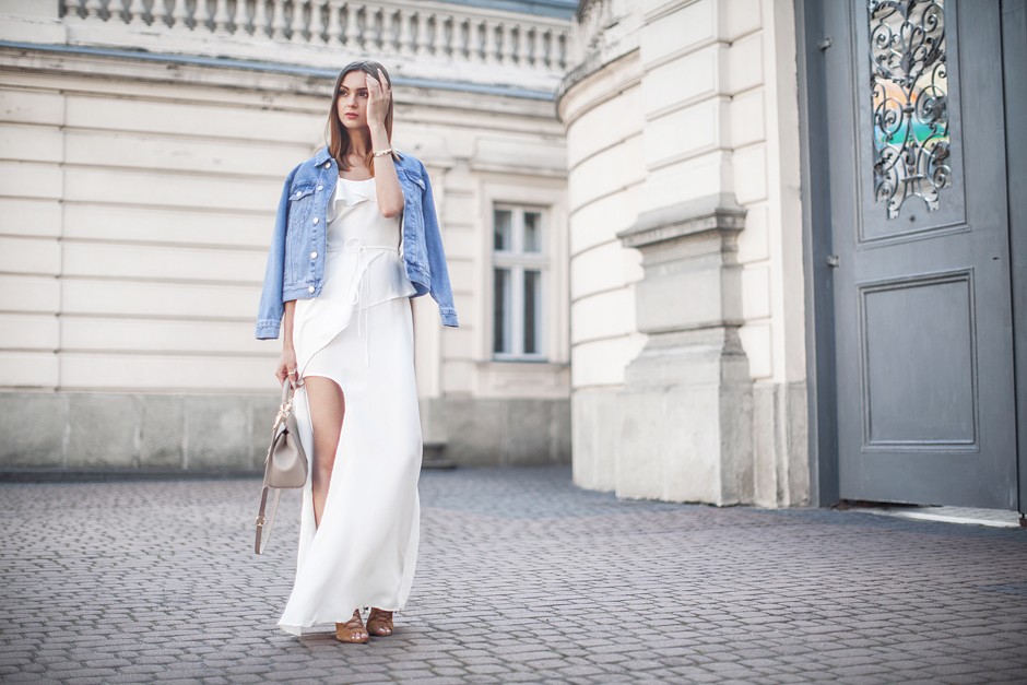 white-maxi-dress-outfit-denim-jacket-street-style