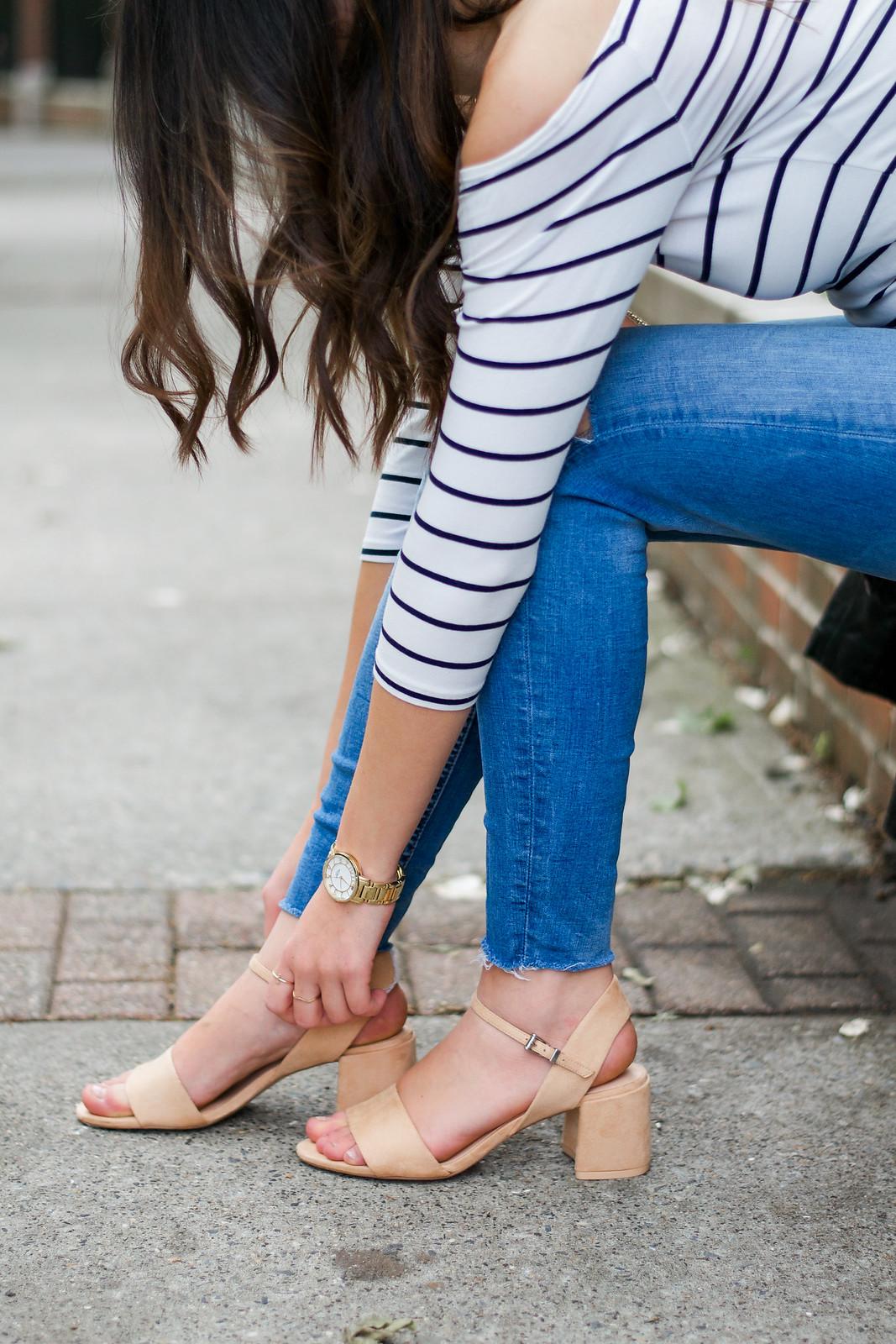 Striped Top Beige Heels