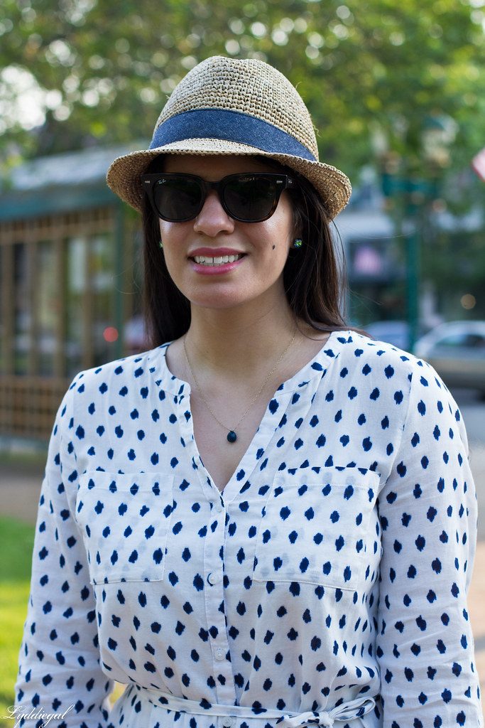 polka dot dress, straw fedora, blue sandals-5.jpg