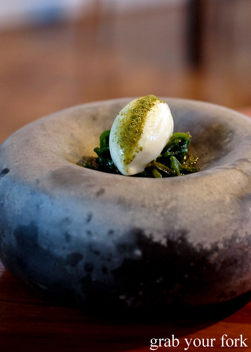 Crab and yoghurt sorbet, sea lettuce and sea purslane at Restaurant Orana, Adelaide