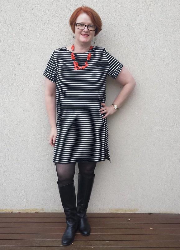 Named Inari dress in striped ponte