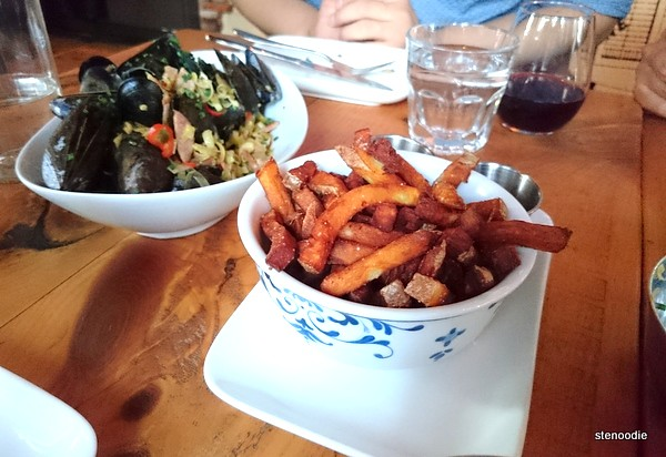 lemongrass & chorizo mussels and county fries & remoulade