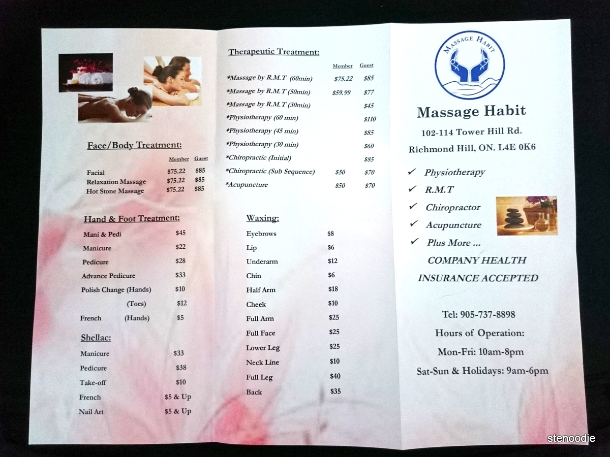 Massage Habit service rates