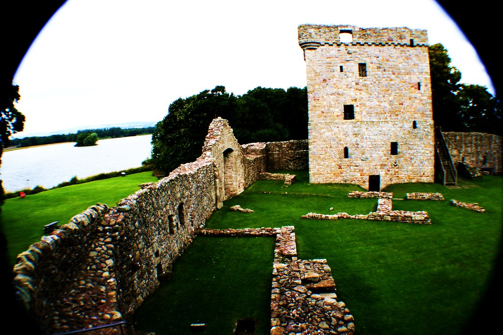 Curtain Wall at Lochleven Castle, Scotland.