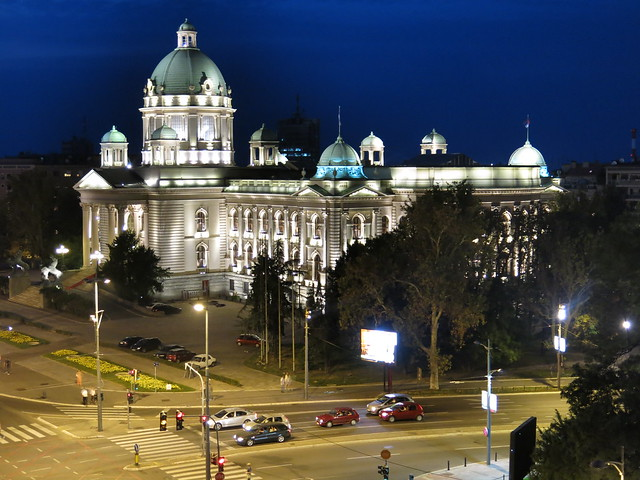 Serbian Assembly building during night