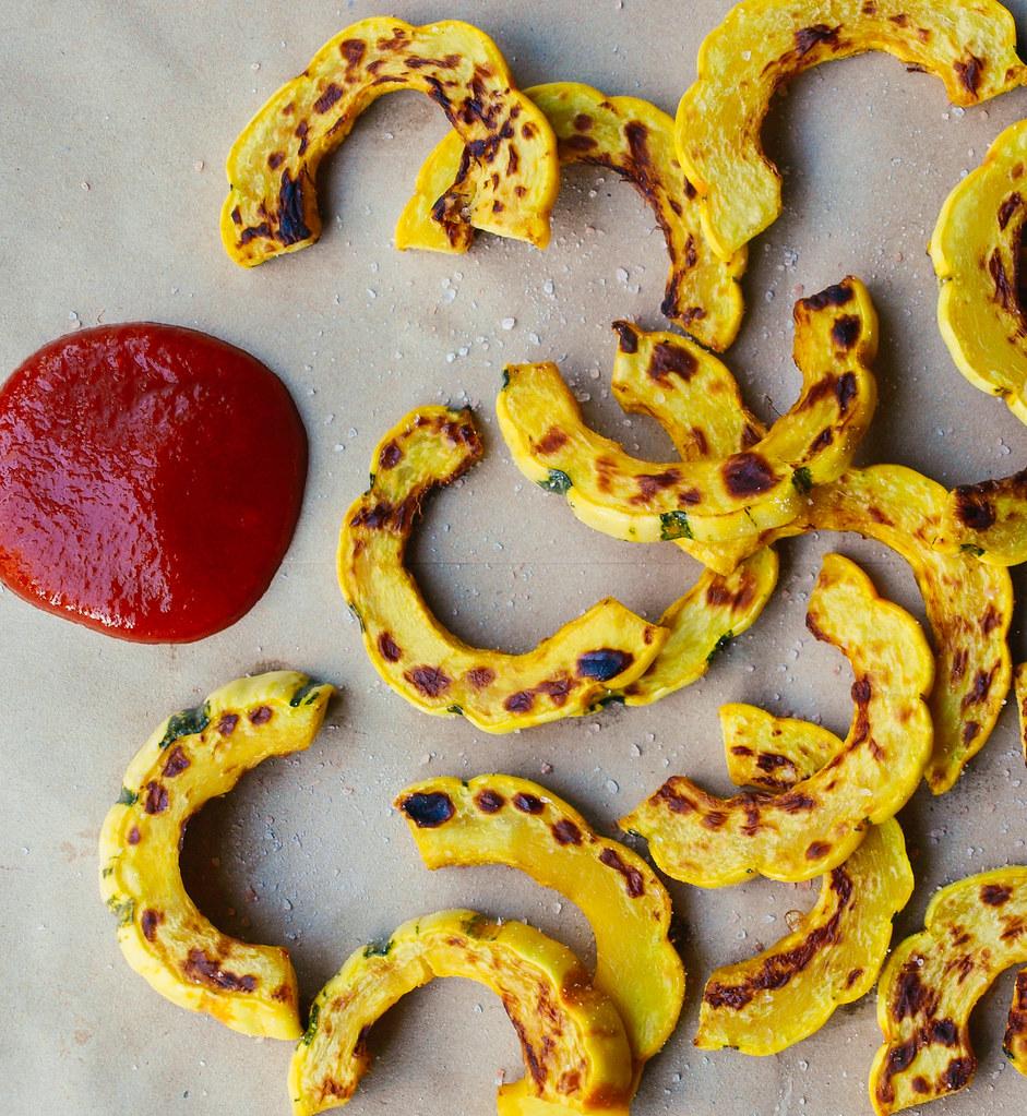 Roasted Delicata Squash Fries + Sriracha