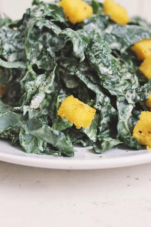 Creamy Kale Salad w/ Cracked Pepper Polenta Croutons - Gluten-free + Vegan