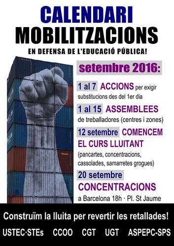 Calendari mobilitzacions ensenyament inici curs 2016-17