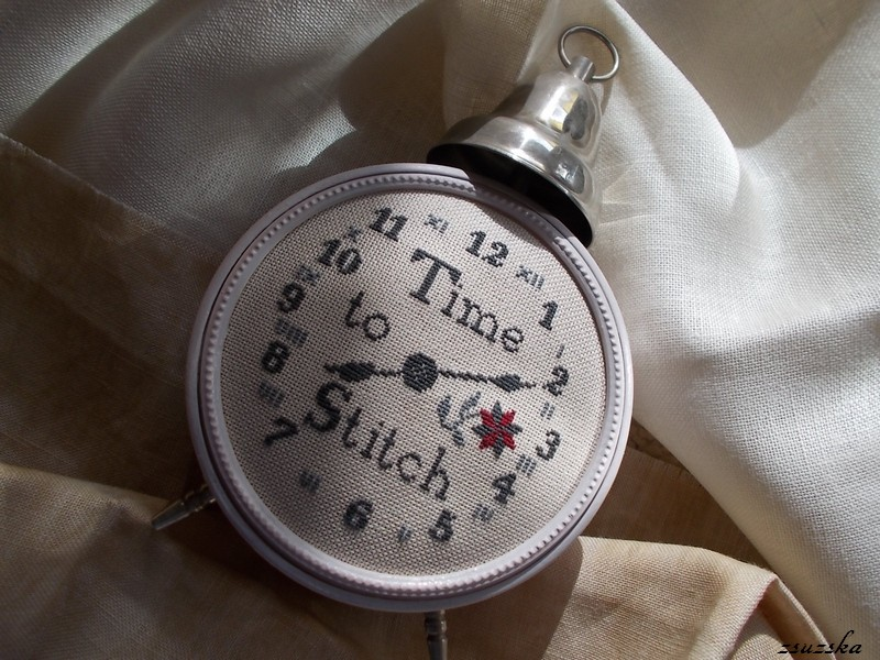 needlework press, time to stitch, cross stitch, clock