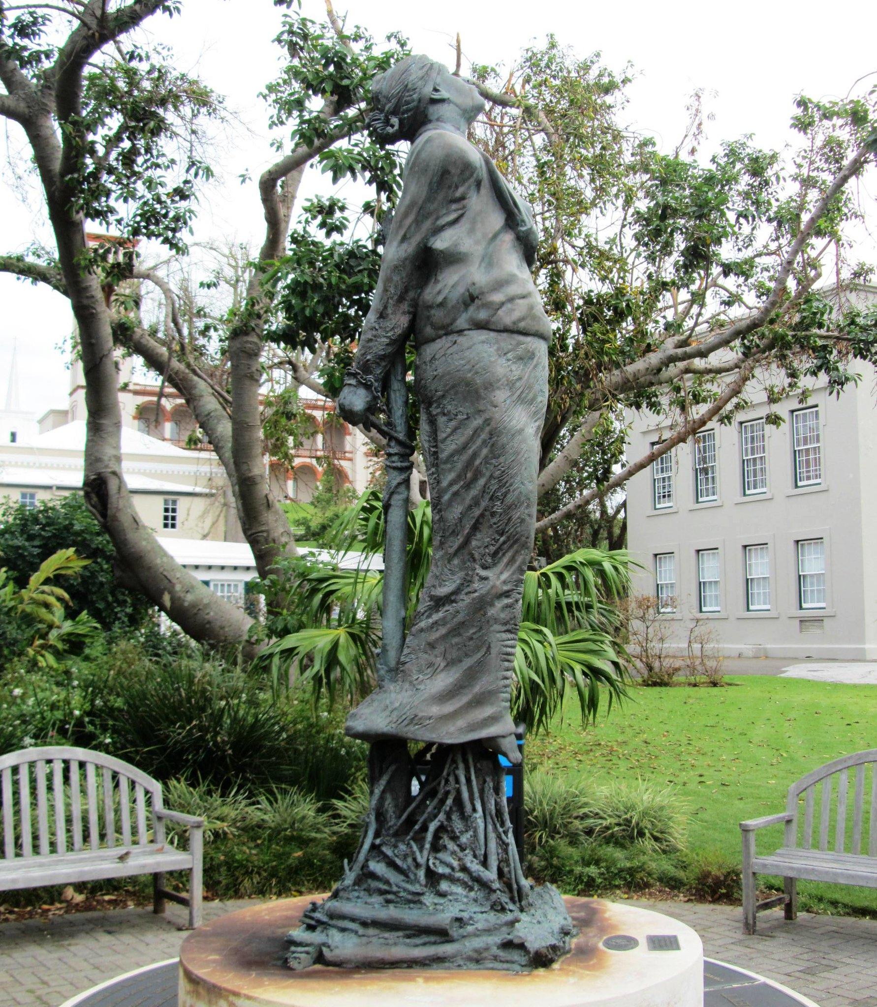 Bermuda. Hamilton. A bronze of Sarah (Sally) Bassett. Read her story below.