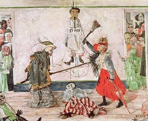 a painting by James Ensor Maskers Quarreling over a Hanged Man