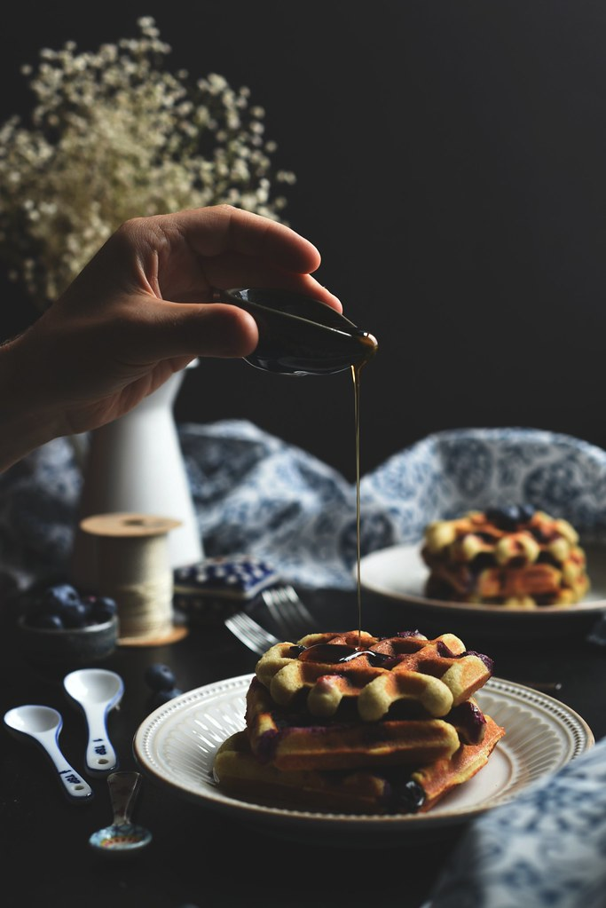 blueberry - lemon almond waffles