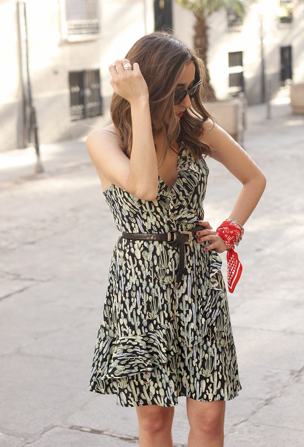 summer dress with cactus prints black sandals sunnies outfit style 07