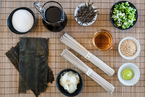 simple ingredients for a traditional Japanese meal