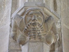 Methwold, Norfolk, St George, acrobatic man with curley beard